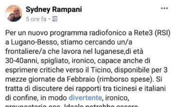 Sidney Rampani: ricerca di un frontaliere per Rete3-RSI