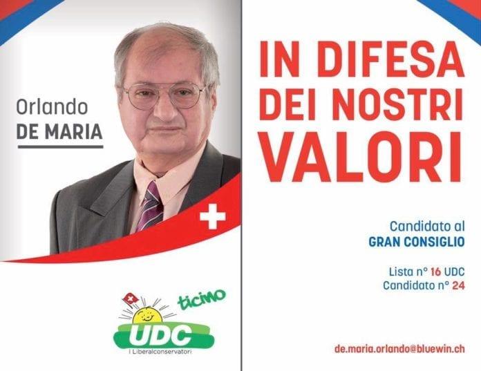Orlando De Maria - candidato UDC al Gran Consiglio 2019-2023