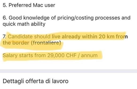ANNUNCI PER FRONTALIERI - 2'200 franchi per un laureato!
