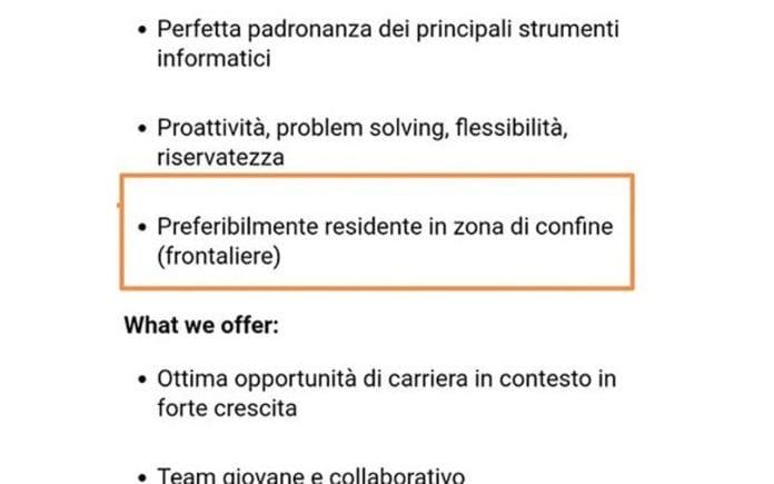 ANNUNCI PER FRONTALIERI - Italiani che cercano italiani: basta!
