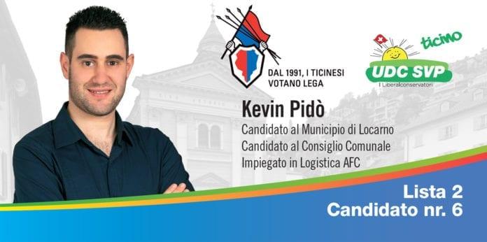 Kevin Pidò, candidato Nr. 6 Lista 2 per il Municipio e Consiglio Comunale di Locarno