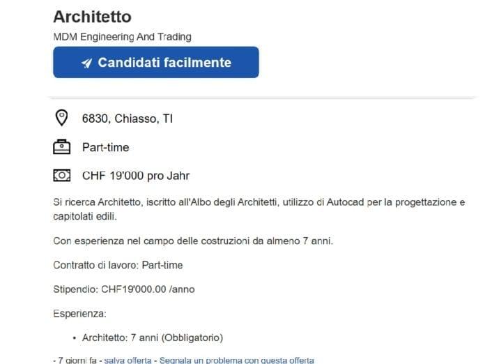 LAVORO - 1'500 per un architetto part time, uno scandalo!