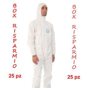 Tuta Monouso con Cappuccio. 55 Gr/M2. DPI III Categoria, BOX RISPARMIO 25pz