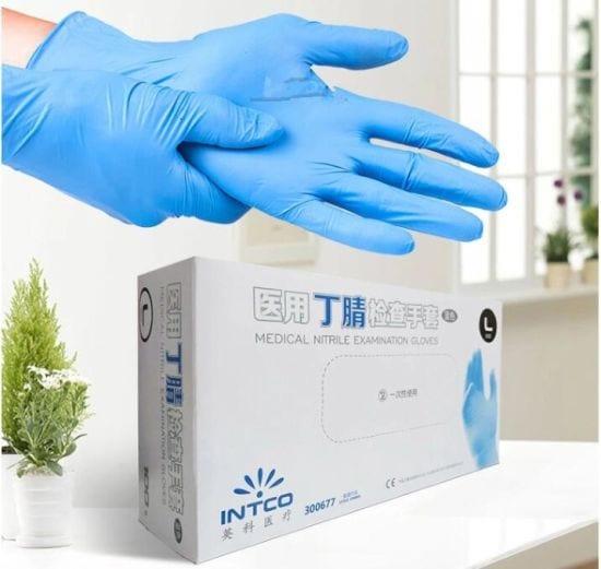 GUANTI MONOUSO in Nitrile, INTCO - blu confezione da 100 pezzi